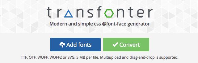 Convert web font với Transfonter