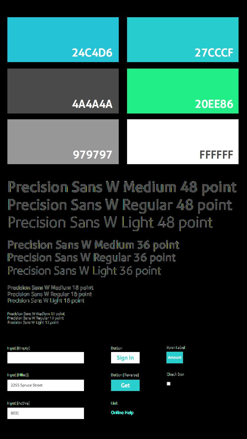 Ví dụ bảng màu và typography trong Atomic Design