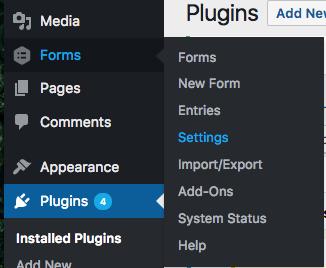 Menu Settings của Gravity Forms trong WordPress