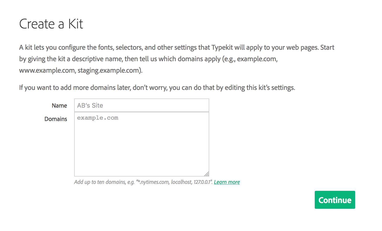 Bước đầu trong tạo 1 Typekit mới