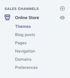 "Menu ""Themes"" trong Shopify"