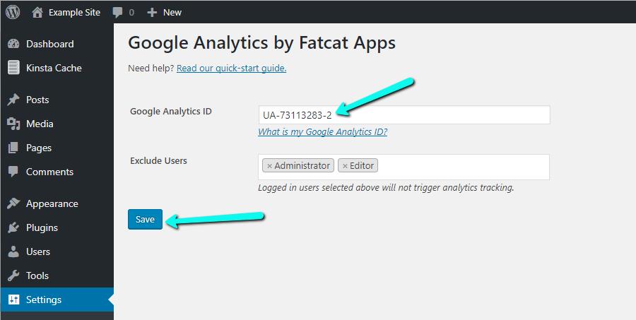 Thêm ID tài khoản Google Analytics vào trong cấu hình của plugin