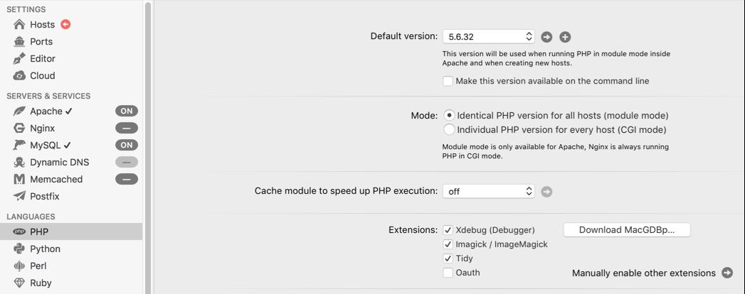 Kiểm tra phiên bản PHP trong MAMP Pro