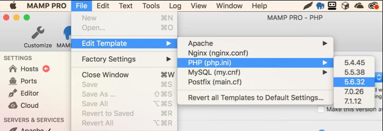 Sửa file PHP.INI trong MAMP Pro