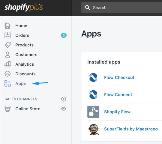 Truy cập menu Apps trong Shopify
