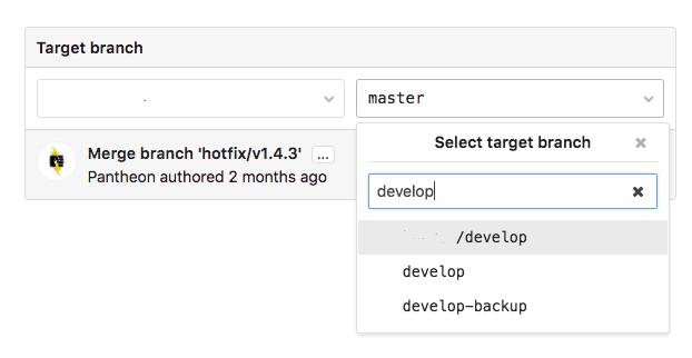 Chọn branch gốc trong GitLab Merge Request