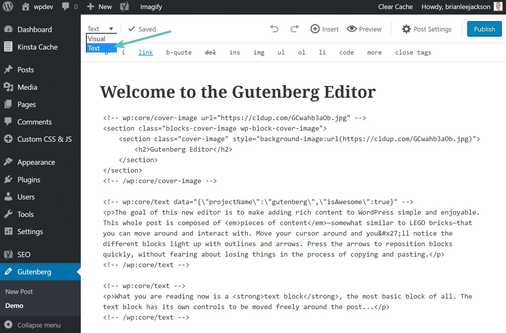 Chuyển đổi giữa code và nhìn để sửa trong Gutenberg