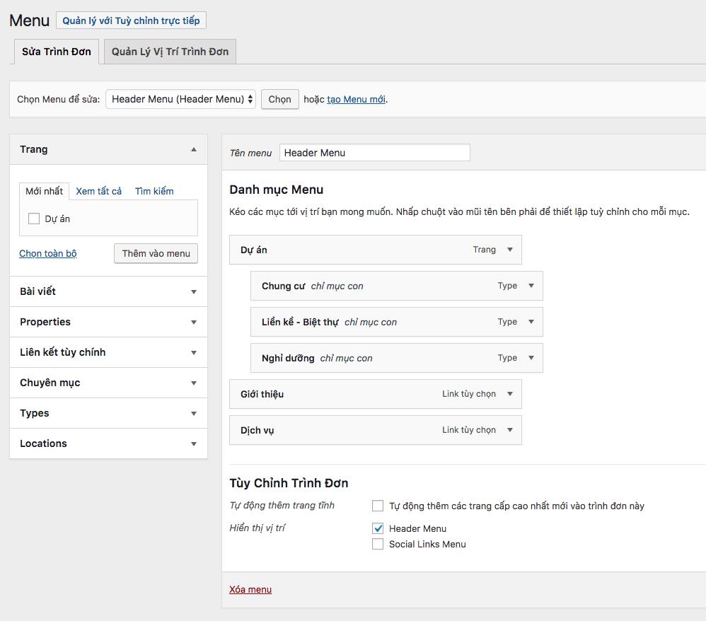 Thêm menu có chứa sub-menu trong WordPress