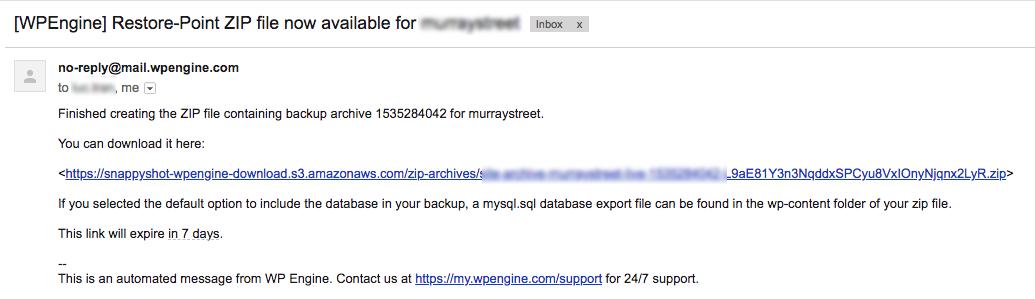 Tải xuống bản backup trong WPEngine qua email