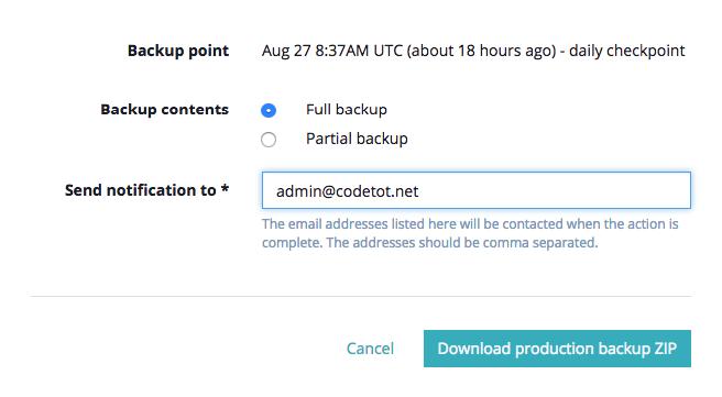 Xác nhận tải xuống backup của WPEngine