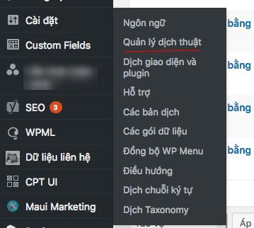 Truy cập vào menu WPML