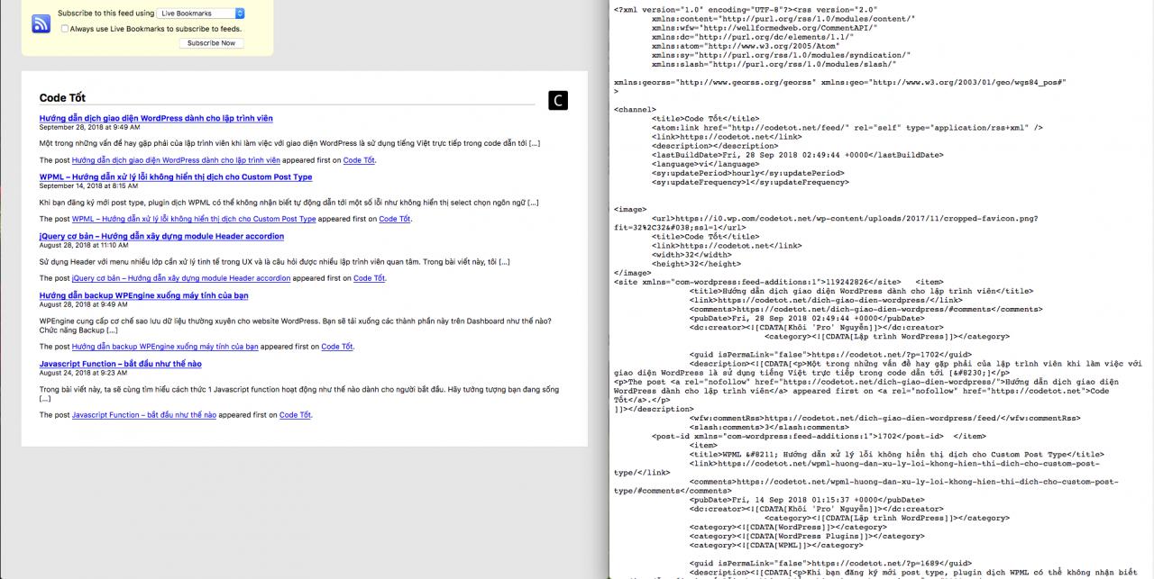 So sánh hiển thị RSS Feed giữa Chrome và Firefox