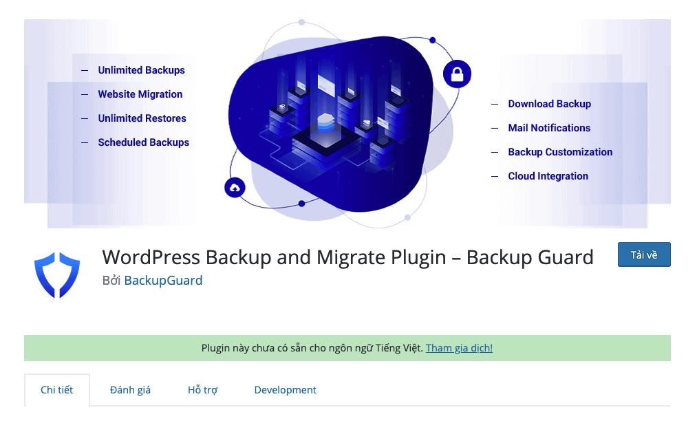 Backup Guard trên wordpress.org