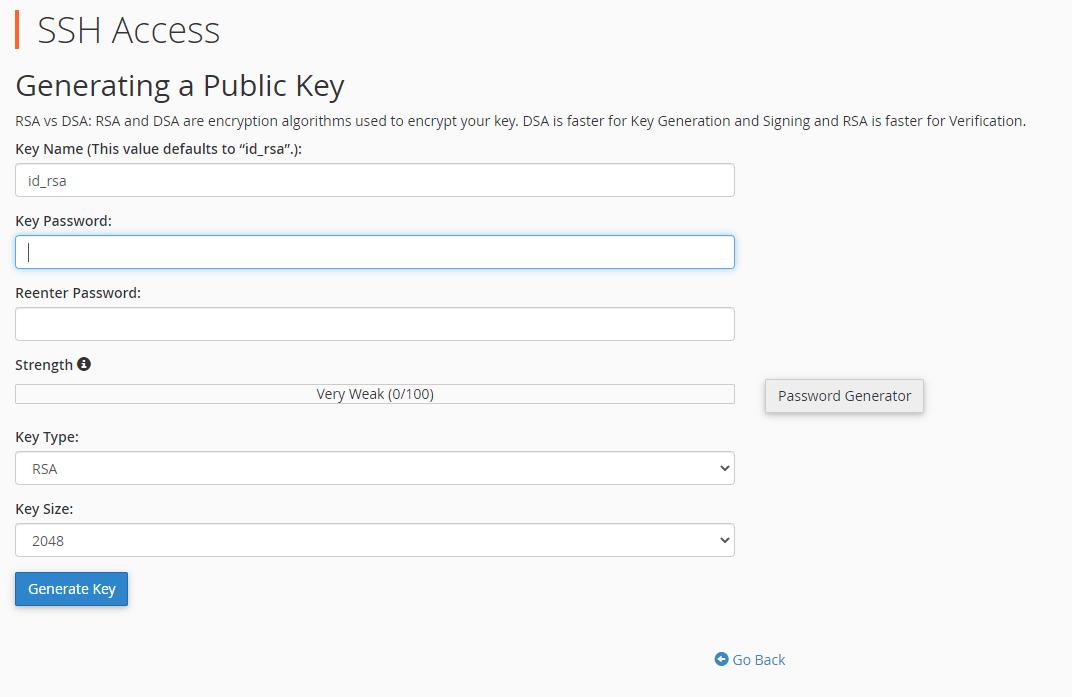 Màn hình tạo key SSH trong cPanel hosting