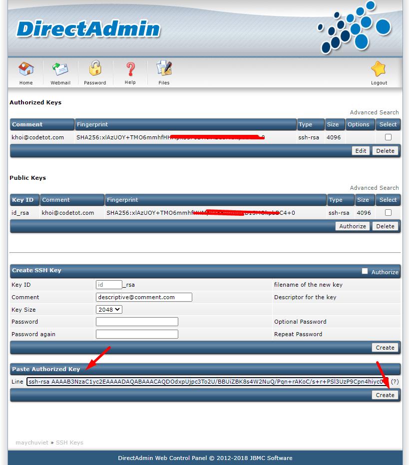 Thêm SSH Key trong DirectAdmin