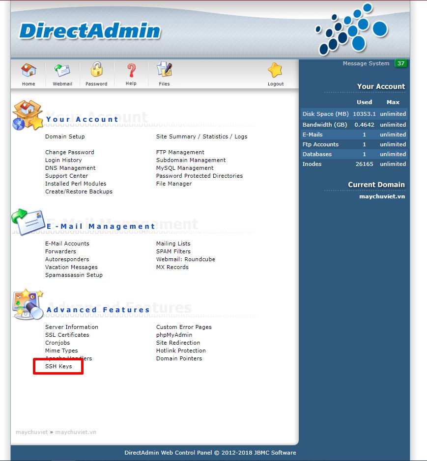 Menu SSH Keys trong Directadmin