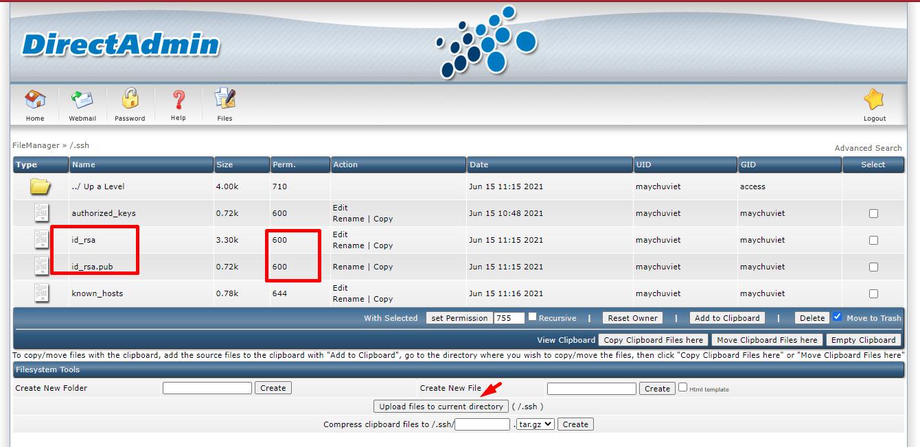 Folder .ssh trong Directadmin